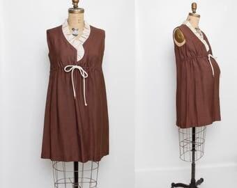 Vintage 1960s maternity dress chocolate brown