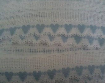 """White Lace Filet with Blue Hearts 1 1/4"""" wide"""