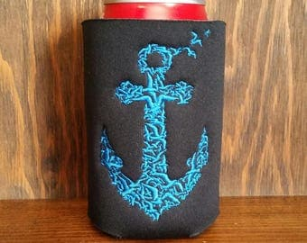Can Cooler, Embroidered Anchor Can Cooler, Anchor Coozie, Embroidery Can Cooler, Custom Can Cooler, Anchor Embroidery, Anchor Cozie, Cozies