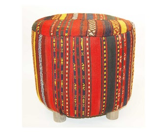 Rug kilim vintage wool pouf ,Floor   Round Pouf -  Ottoman wooden legs, Footstool,Boho Furniture