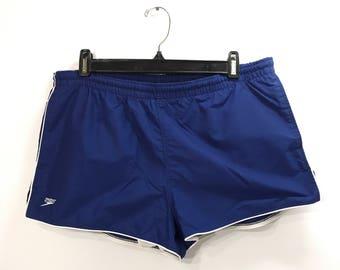 80s Classic SPEEDO Swim Shorts / Retro Short Mens Swim Trunks Original USA Made Speedo Brand Excellent Condition Size 34 Waist
