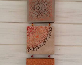 Orange Moroccan Art, acrylic painting, Indian decor, free postage,bohemian,handmade, wall hanging