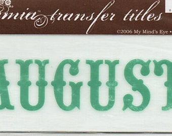 August Title Rub On Transfer Embellishments Cardmaking Crafts My Mind's Eye Bohemia