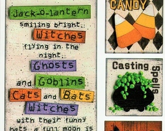Halloween Titles Tags Borders Bo Bunny  Cardstock Scrapbook Stickers Embellishments Card Making