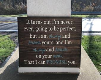 Inspirational wooden sign