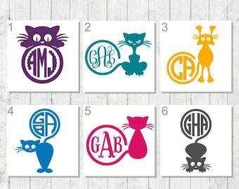 Cat Monogram Decal, Personalized Cat Decal, Cat Lover Gift, Cat Decal, Cat Laptop Decal, Gift for Cat Lover, Animal Monogram, Cute Cat Decal