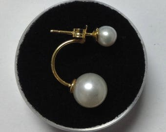Earrings in yellow gold and fresh water Pearl 14 k