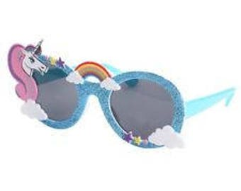 Unicorn rainbow and cloud sunglasses witha sparkly blue glitter edge, perfect for summer fun