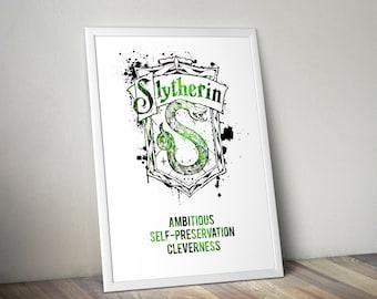 Slytherin,House,Traits, Print, Poster, Fan Art, Harry Potter, Crest, Hogwarts, Evil, Death Eater,Christmas,Ravenclaw, Gryffindor, Hufflepuff