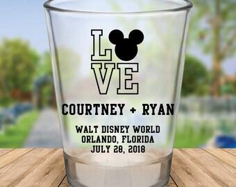 """Custom Disney Themed """"Love"""" Wedding Favor Shot Glasses"""
