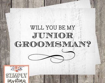Will You Be My Junior Groomsman, Printed Note Card, Bridal Party Ask Card, Be in My Wedding, Proposal Card, Wedding Ask Card, Wedding Party