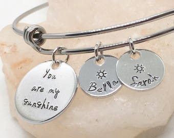 You Are My Sunshine, Mom Gift, Gift for Mom, Mom and Kids Jewelry, Gift for Grandma, Grandma Jewelry, Christmas Gift for Mom, from Kids