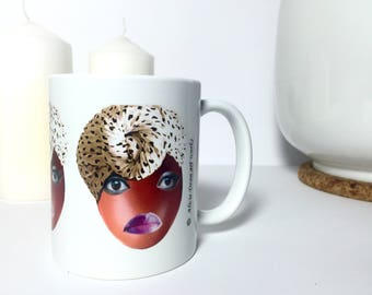 Boo Hoo Mugs, Ethnic art Mug, Ethnic art woman mug, Afrocentric mugs, Birthday gift, Christmas gift