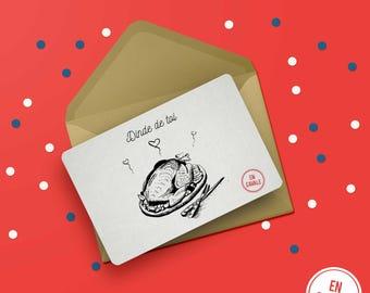 "Christmas card - ""Turkey you"" + envelope"