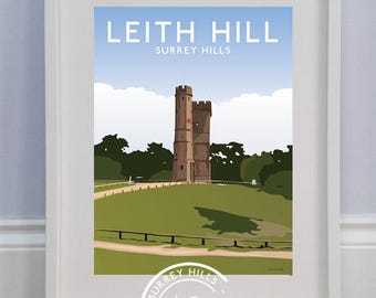 Leith Hill, Surrey Hills - Limited Edition Travel Print celebrating 60 years of the Surrey Hills AONB - Louise Dunckley