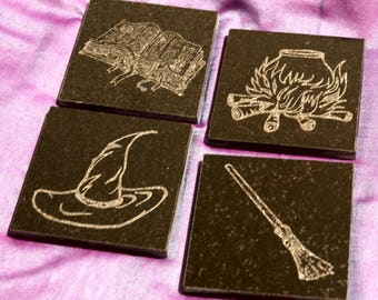 Black Granite Tile Coaster Set, Engraved with Witchy Icons