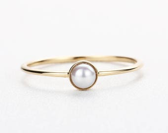 Pearl engagement ring 14K Gold Minimalist engagement ring Simple Thin Dainty Fresh water Pearl Jewelry Stacking Promise Anniversary gift