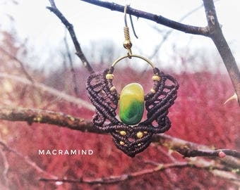 Macrame earrings with beautiful agate stones-Green Yellow agate-Festival Earrings-Wild Spirit Jewelry-Psy Princess-Macramind