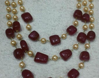 ZE-N11 layered ruby beads and pearl statement necklace