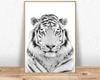 Tiger Print, Tiger Poster, Woodland Decor, Tiger Wall Art Print, Kids Wall Art, Nursery Art, Nursery Decor, Tiger Decor, Digital Download