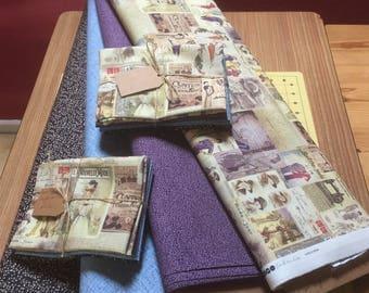 Fat Quarter bundle,  quilting fabric bundle,  Vintage couture, french adverts, fat quarters, fat qtrs, purple fabric, blue fabric
