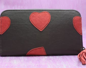 Big leather wallet, clutch with hearts