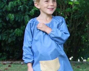 Mixed blue school 4t shirt/blouse. Mustard graphic Pocket