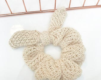 Knitted cream bow scrunchy