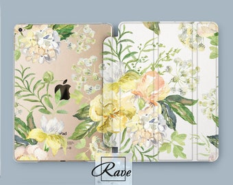 Flowers case clear iPad pro case Tablet case 10 inch iPad case 4 Mini 1 3 cover 9.7 iPad air 2 iPad pro 12.9 stand Floral pastel Hard 10.5