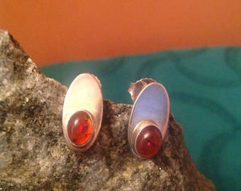 Vintage amber and sterling silver earrings