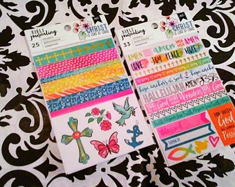 2 pk Sticker Set by American Crafts : Set of 2 Bible Journaling Sticker Sets ~Trendy & Watercolor~