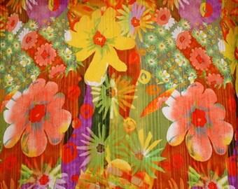Flower Wrinkle Chiffon Print Orange/Yellow/Purple