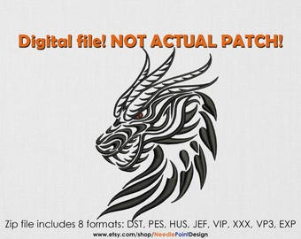 INSTANT DOWNLOAD - Dragon Head machine embroidery design. Patterned dragon. Embroidery file