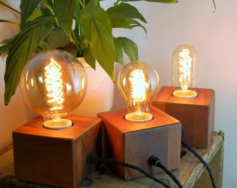 Handcrafted 'CUBE Lamp' Reclaimed Mahogany Small Table Lamp / Light - Retro / Art Deco Style