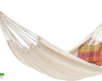 ECOMUNDY PURE XL Organic - Modern handcrafted premium hammock,  organic cotton - Gots-label 160x260x400cm.