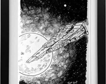 Robotech ship SDF-1 Ink Drawing