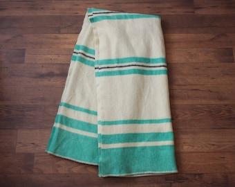 Hudson Bay Style Blanket // Vintage Wool Green Striped Blanket Teal Stripes 6 x 7