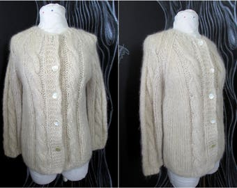 Vintage 60s Handknit Mohair Cardigan Sweater. Size S-M. Made In Italy. Lovely Oatmeal Cream. Cuddly Loose Knit. Cables. Original Buttons.