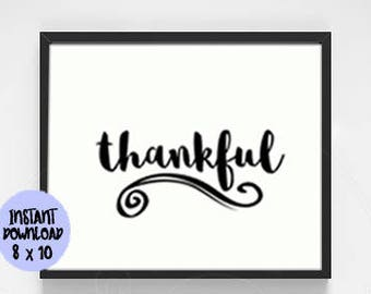 Thankful Sign Printable / Thanksgiving Printable / Thanksgiving Sign / Thanksgiving Decor / Thanksgiving Instant Download / Printable PDF