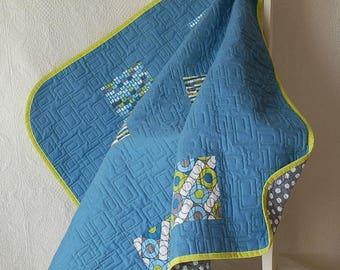 Baby Quilt Baby Blanket Crib Quilt Baby Boy Toddler Blue Gray Green
