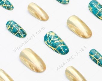 Press On Nails - Golden Mirror nails- Marble nails- Glue On nails - Faux Nails - Chrome nails- false nails - Free International Shipping