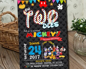 Mickey Mouse Invitation, Mickey Mouse Clubhouse Invitation, Mickey Mouse Invitation, Mickey Invitation, Mickey Mouse Birthday Party.