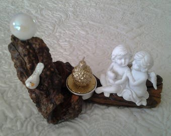 Angel on wood candle holder