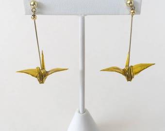 Gold origami crane earrings, gold wife gift, wife christmas jewelry, wife gift earrings, japanese jewelry, origami jewelry, origami crane