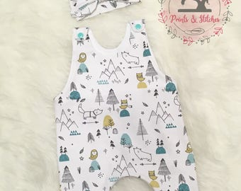 Baby ROMPERS- UNISEX baby gift - BABY clothing- baby shower gift -new baby gift - woodland theme romper