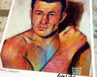 """8.5"""" by 11"""" Rocky Graziano Boxing Art Print by Robert Phelps**Boxing art, fight art, Rocky, Rocky art print, Rocky boxer, boxing art, boxers"""