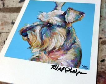 Colorful SCHNAUZER ART PRINT by Robert Phelps--Schnauzer Painting, Schnauzer Art, Colorful Dog Art, Schnauzer Portrait, Schnauzer Gifts
