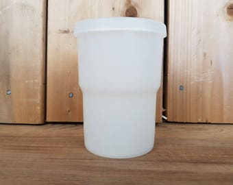 Vintage Tupperware Small Single Clear Plastic Cup Drinking Glass with Lid Made in Canada Mod Retro Kitchen Camping Kid Drink Juice Water