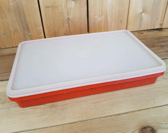 Vintage Tupperware Rectangular orange Plastic Keeper Container with Clear Lid Food Storage Made in Canada Mod Retro Kitchen Home Decor