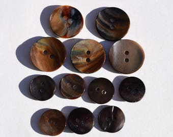 Set of 12 Vintage Mother of pearl buttons 5 big and 7 small